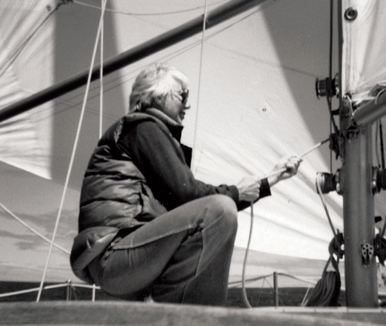 Shirley on one of her many sailing trips with Fred.