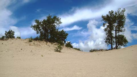 Giant sand dunes with clear blue sky