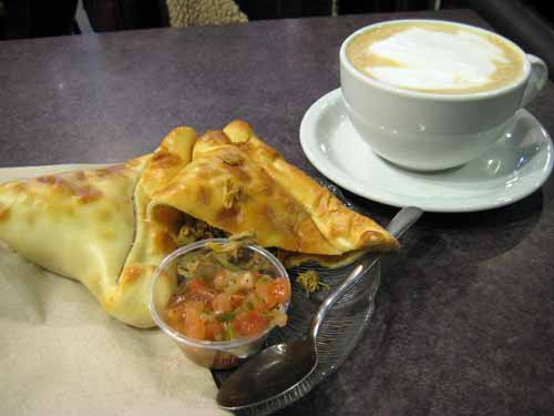 Chicken Empanada and Caffe Latte at Cofee Tree Roastery (Bloor West)