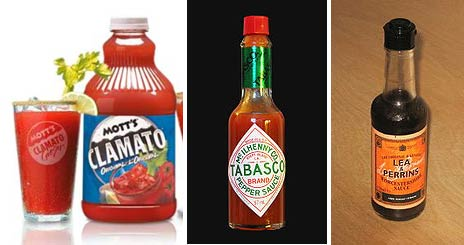Caesar Cocktail Ingredients (from left - Clamato Juice, Tabasco sauce & Worcestershire sauce)