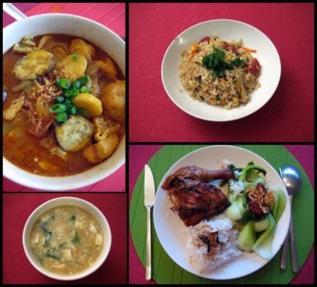 my cooking (左上- curry laksa; 右上- 糯米饭; 左下- 粟米鸡粒豆腐汤;右下 - 药材烤鸡)