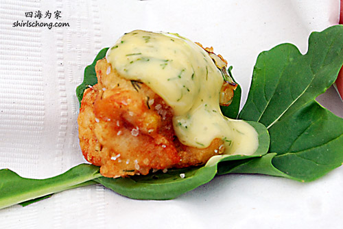 Corn and Pickerel Fritters with a sweet dill mustard sauce from Merrill Inn (Taste 2009)