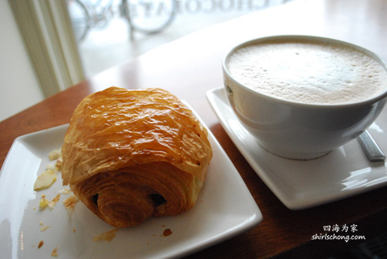 Chocolate Croissant & Latte at Fous Desserts, Montreal