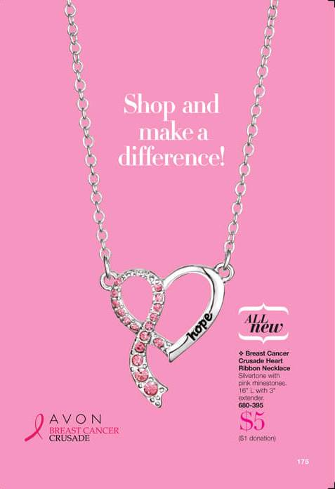 Breast Cancer Crusade Heart Ribbon Necklace