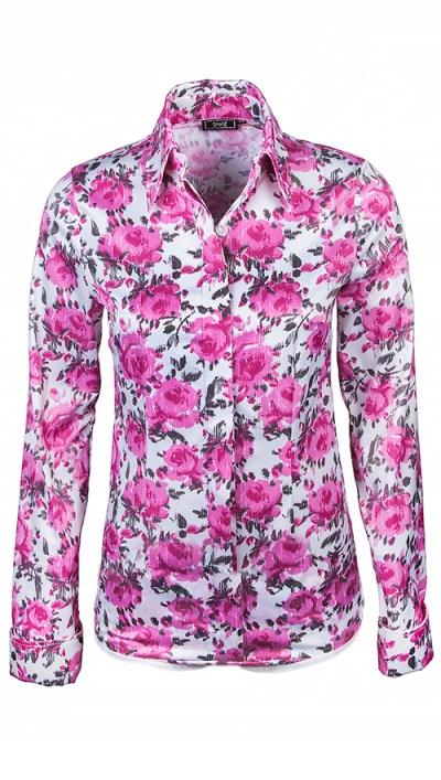 ShirlZ Blouse satijn print roze bloem
