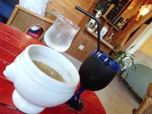 エデラメール、スープとアイスコーヒー