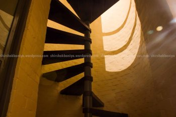 Spiral staircase with minimum use of space which in turn is a functional one.