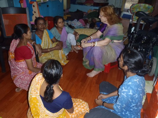 Meeting with our childcare workers -- the massis