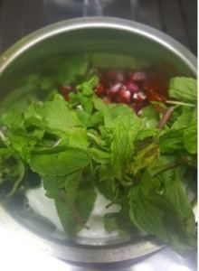 Pomegranates Chutney making