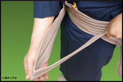 男の帯結び・余った長さの処理2