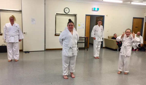 Excited karate students