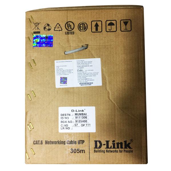 Dlink 305mtr Cat6 Lan UTP Cable, Gray