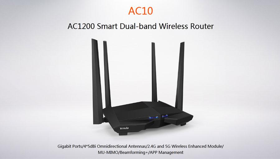 Tenda AC10 AC1200 Smart Dual Band Gigabit WiFi Router