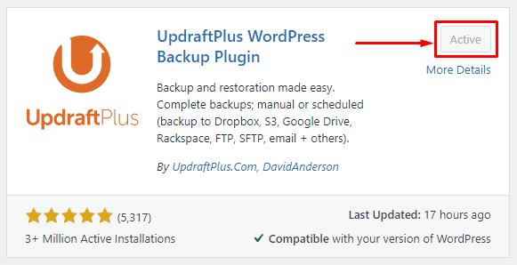 Install & Active UpdraftPlus Backup Plugin