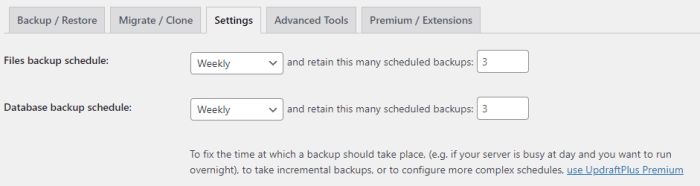 Select your backup preferences