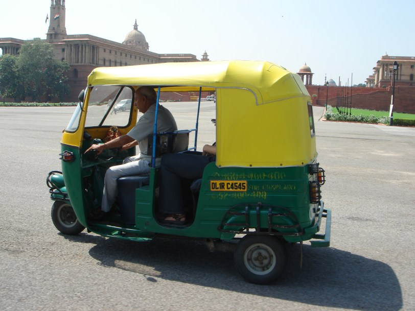 Tricia's rickshaw in front of the Viceroy's house and South Block