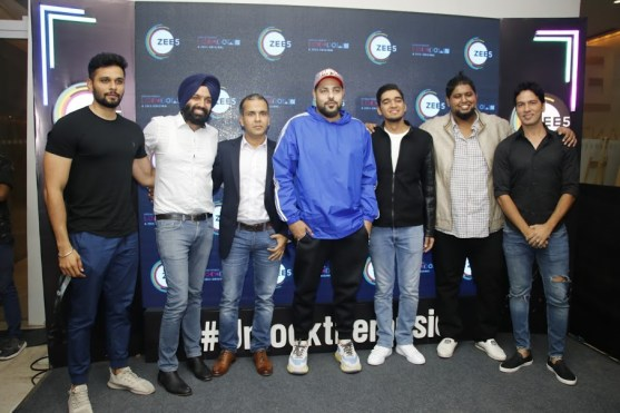 Manish Aggarwal, Business Head, ZEE5, Badshah, Parth, Bryden with guests
