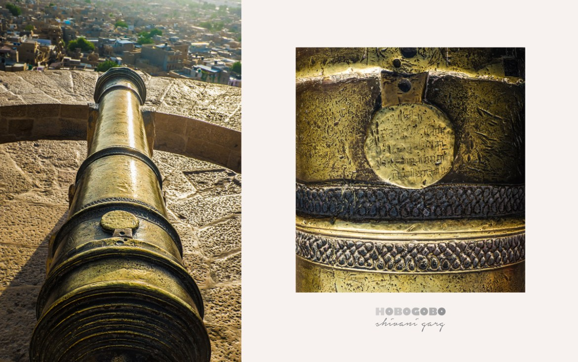 details and carvings on the cannon inside Jaisalmer Fort