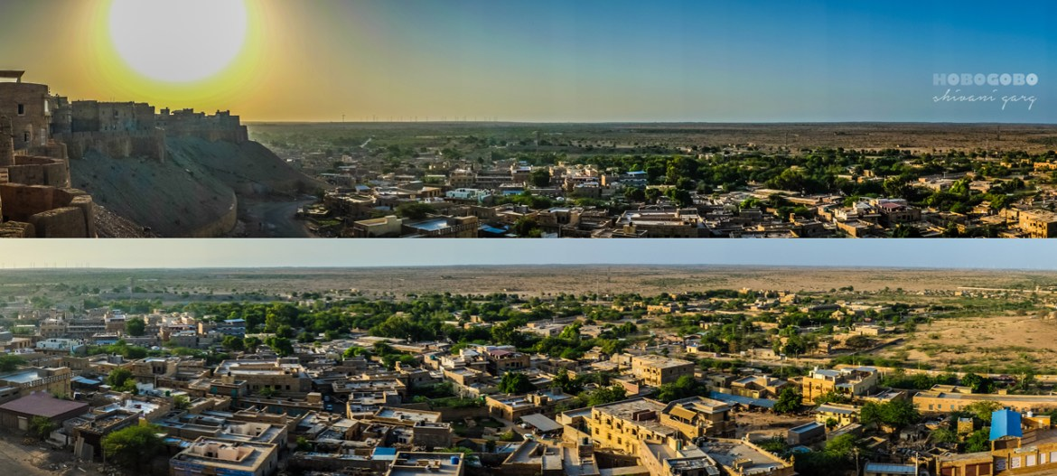 panoramic view of jaisalmer city from inside jaisalmer fort