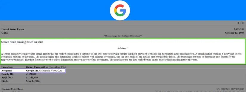 Google patent that clarifies trust.