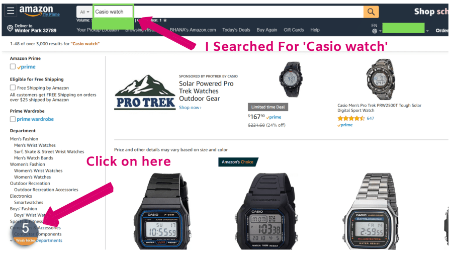 Searching Casio watch at Amazon.