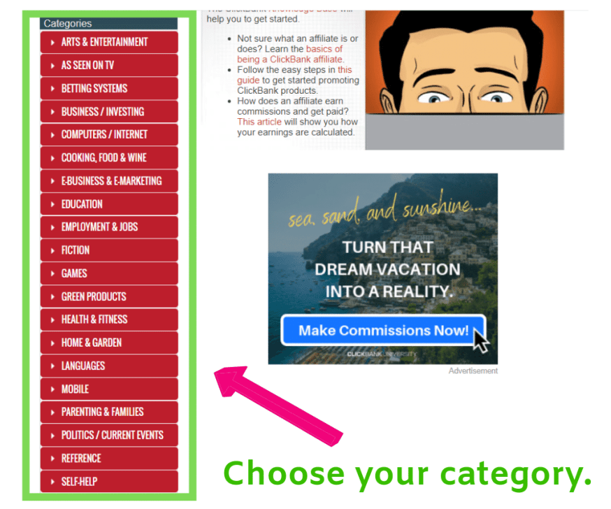 Categories to choose products in Clickbank.