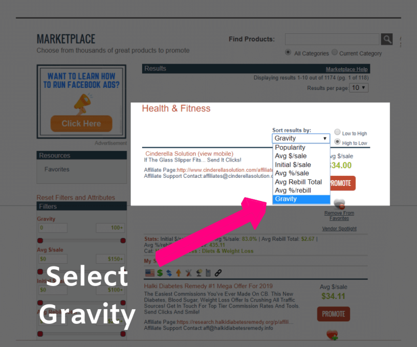 Selecting gravity score as a filter in CLickbank to sort top products.