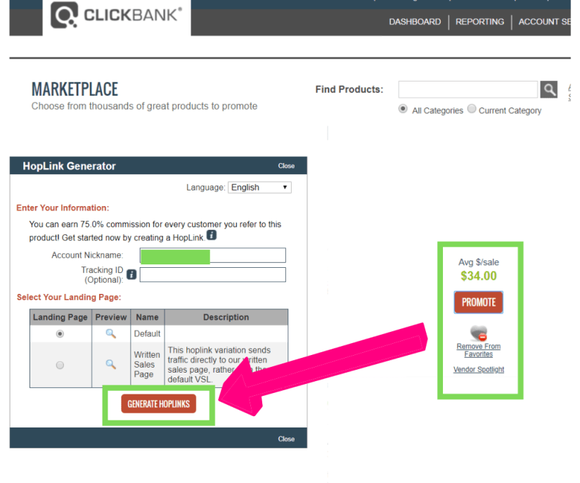 Generating hoplink or affiliate link via Clickbank link generator.