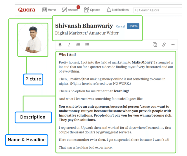 Shivansh Bhanwariya's Quora profile indicating name, description, and tagline.