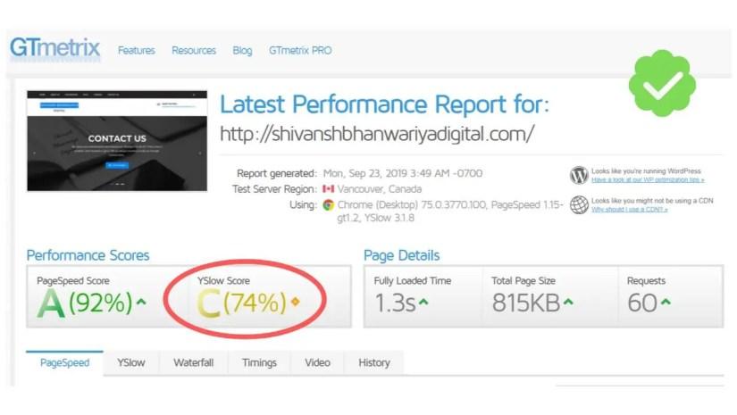 My website speed.