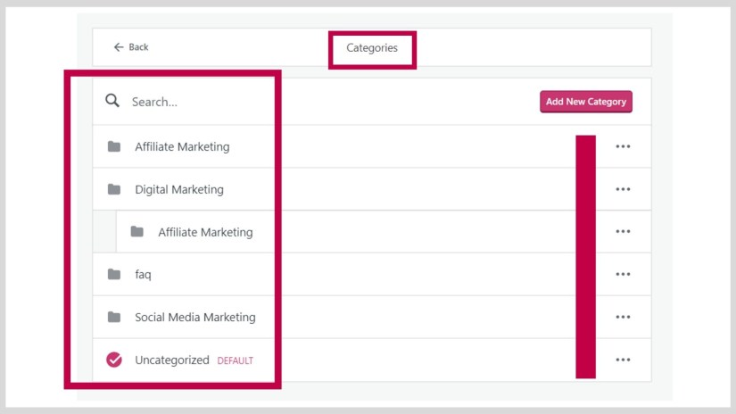 Add categories to your site.
