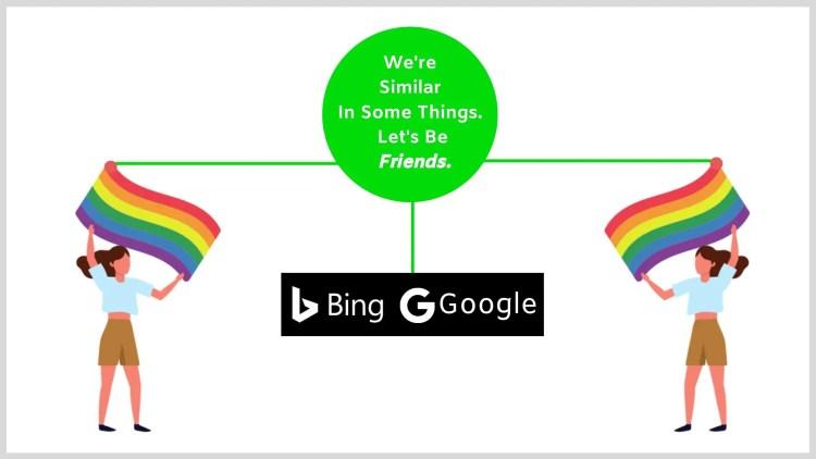 Similarities between Bing and Google.