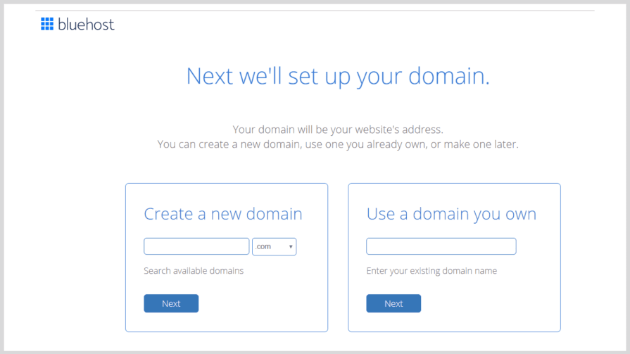 How to start a blog: Bluehost domain validation.