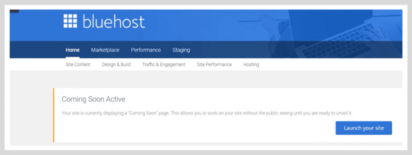 Bluehost Coming Soon Active option in WordPress.
