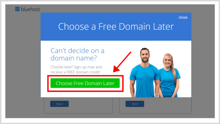 How to successfully start a blog: Choose the free domain later.