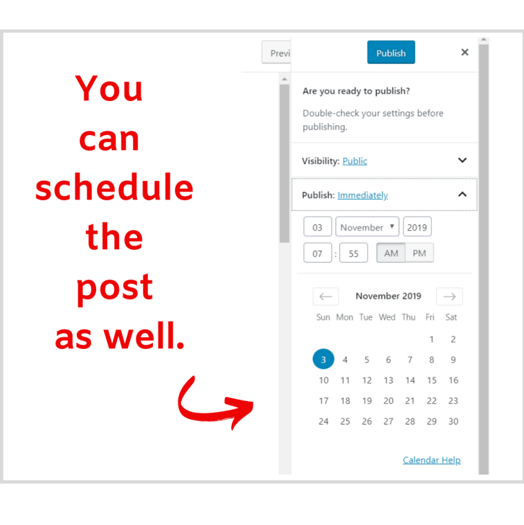 Scheduling a post with WordPress.