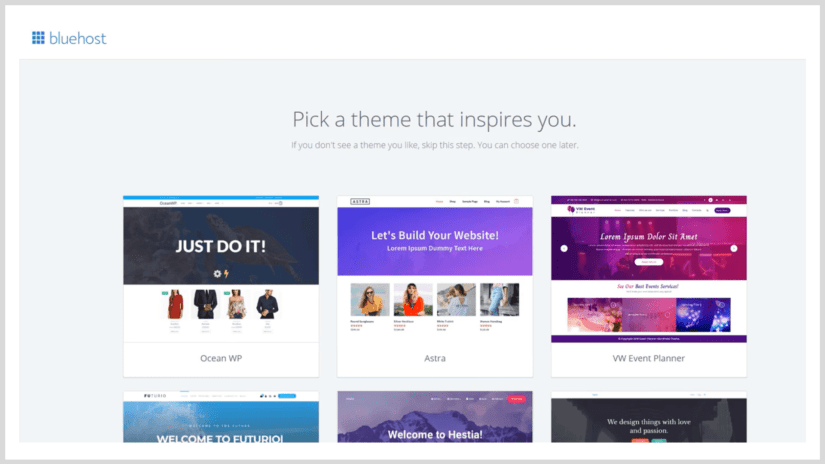 Pick a WordPress theme in Bluehost.