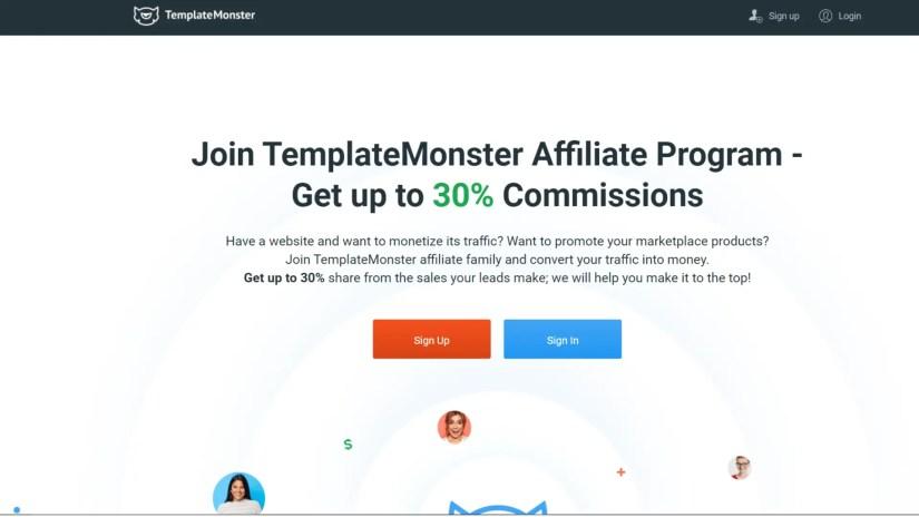 Website builder affiliate programs: TemplateMonster