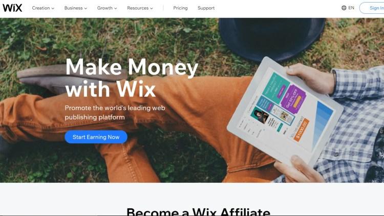 Website builder affiliate program: Wix affiliate program