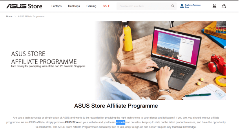 ASUS Affiliate Program for promoting laptops