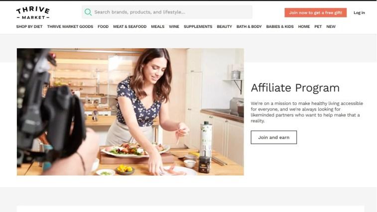 best food affiliate programs: Thrive market