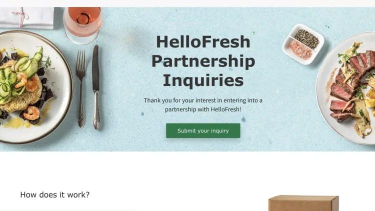 HelloFresh affiliate program for groceries