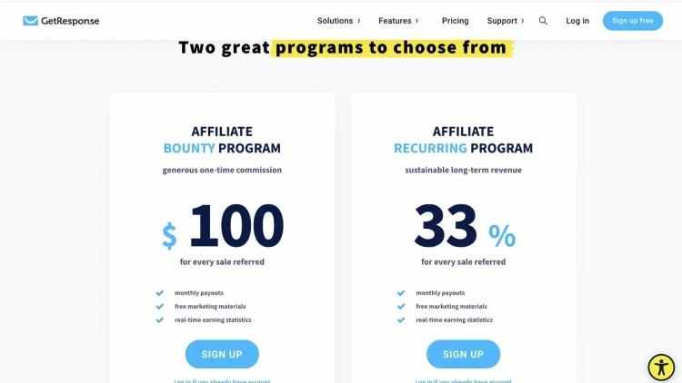 Two GetResponse affiliate programs