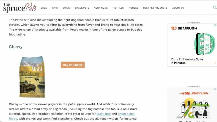 Promote Chewy as an affiliate via blogging