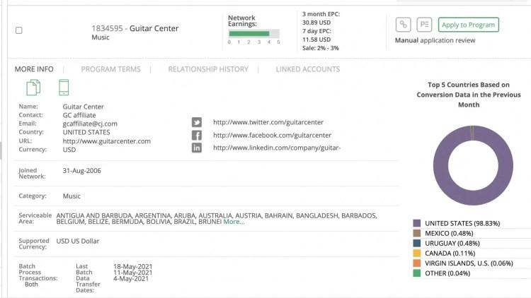 Guitar Center affiliate program: join of CJ Affiliate