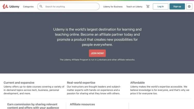 Udemy affiliate program for network marketing courses