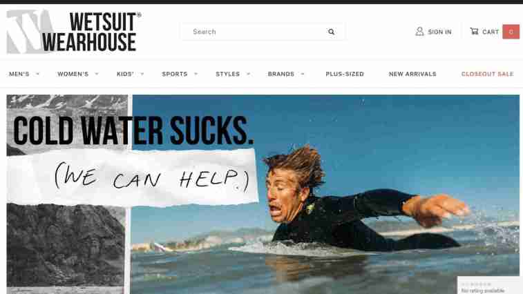 Wetsuit Warehouse affiliate