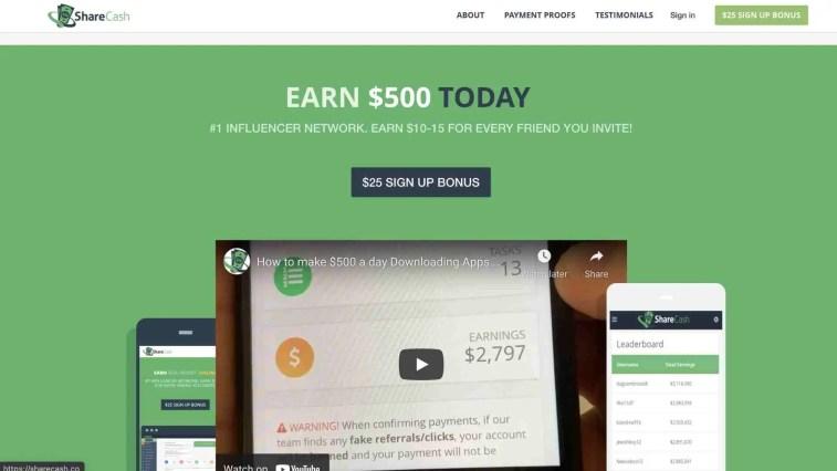ShareCash affiliate program