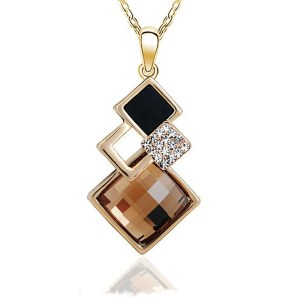 Square Crystal Stone Pendant Necklace Golden