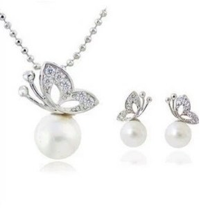 Butterfly Pearl Drop Jewelry Set